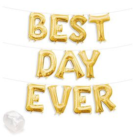 "Air-Fillable 13"" Gold Letter Balloon Kit ""BEST DAY EVER"""