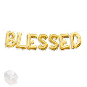 "Air-Fillable 13"" Gold Letter Balloon Kit ""BLESSED"""