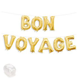 "Air-Fillable 13"" Gold Letter Balloon Kit ""BON VOYAGE"""