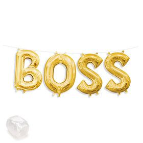 "Air-Fillable 13"" Gold Letter Balloon Kit ""BOSS"""