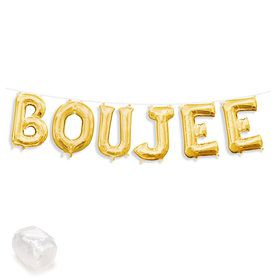 "Air-Fillable 13"" Gold Letter Balloon Kit ""BOUJEE"""