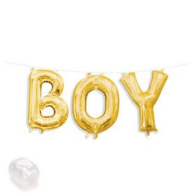 "Air-Fillable 13"" Gold Letter Balloon Kit ""BOY"""