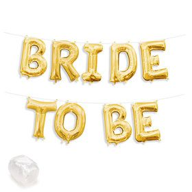 """Air-Fillable 13"""" Gold Letter Balloon Kit """"BRIDE TO BE"""""""
