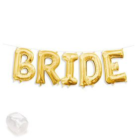 "Air-Fillable 13"" Gold Letter Balloon Kit ""BRIDE"""