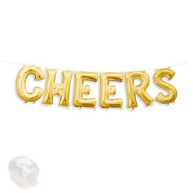 "Air-Fillable 13"" Gold Letter Balloon Kit ""CHEERS"""
