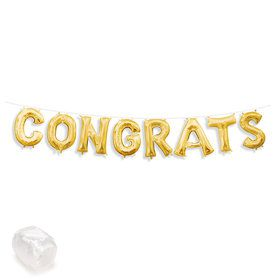 "Air-Fillable 13"" Gold Letter Balloon Kit ""CONGRATS"""