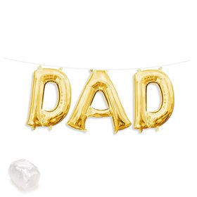 "Air-Fillable 13"" Gold Letter Balloon Kit ""DAD"""