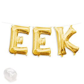 "Air-Fillable 13"" Gold Letter Balloon Kit ""EEK"""