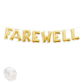 "Air-Fillable 13"" Gold Letter Balloon Kit ""FAREWELL"""