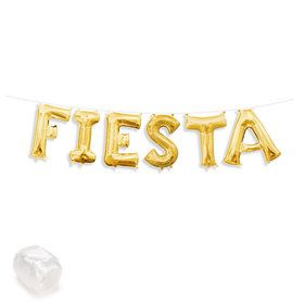 "Air-Fillable 13"" Gold Letter Balloon Kit ""FIESTA"""