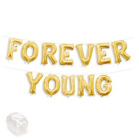 "Air-Fillable 13"" Gold Letter Balloon Kit ""FOREVER YOUNG"""