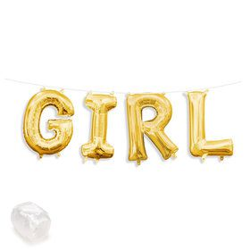 "Air-Fillable 13"" Gold Letter Balloon Kit ""GIRL"""