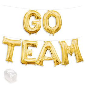 "Air-Fillable 13"" Gold Letter Balloon Kit ""GO TEAM"""