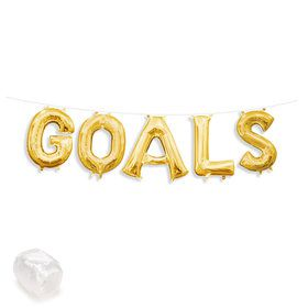 "Air-Fillable 13"" Gold Letter Balloon Kit ""GOALS"""