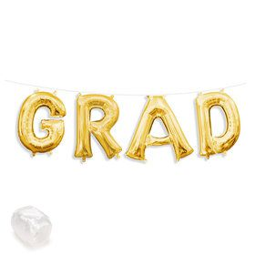 "Air-Fillable 13"" Gold Letter Balloon Kit ""GRAD"""