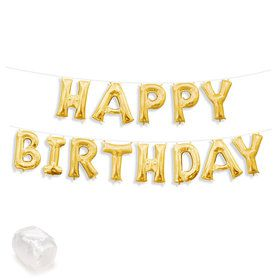 "Air-Fillable 13"" Gold Letter Balloon Kit ""HAPPY BIRTHDAY"""