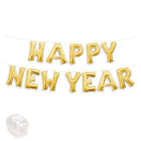 "Air-Fillable 13"" Gold Letter Balloon Kit ""HAPPY NEW YEAR"""