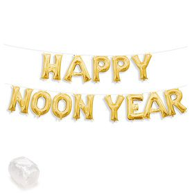 "Air-Fillable 13"" Gold Letter Balloon Kit ""HAPPY NOON YEAR"""