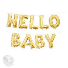 """Air-Fillable 13"""" Gold Letter Balloon Kit """"HELLO BABY"""""""
