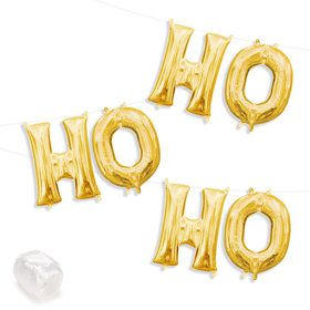 "Air-Fillable 13"" Gold Letter Balloon Kit ""HO HO HO"""