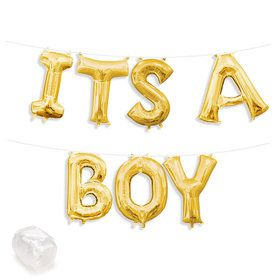"Air-Fillable 13"" Gold Letter Balloon Kit ""ITS A BOY"""