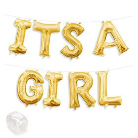 "Air-Fillable 13"" Gold Letter Balloon Kit ""ITS A GIRL"""