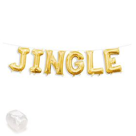 "Air-Fillable 13"" Gold Letter Balloon Kit ""JINGLE"""