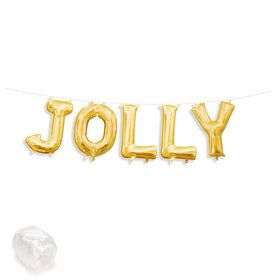 "Air-Fillable 13"" Gold Letter Balloon Kit ""JOLLY"""