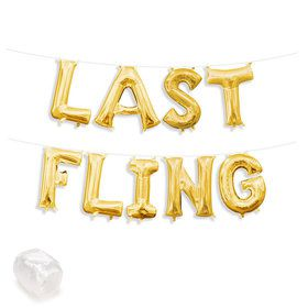 "Air-Fillable 13"" Gold Letter Balloon Kit ""LAST FLING"""
