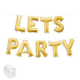 "Air-Fillable 13"" Gold Letter Balloon Kit ""LETS PARTY"""