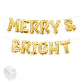 "Air-Fillable 13"" Gold Letter Balloon Kit ""MERRY & BRIGHT"""