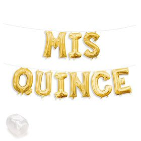 "Air-Fillable 13"" Gold Letter Balloon Kit ""MIS QUINCE"""