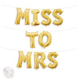 "Air-Fillable 13"" Gold Letter Balloon Kit ""MISS TO MRS"""