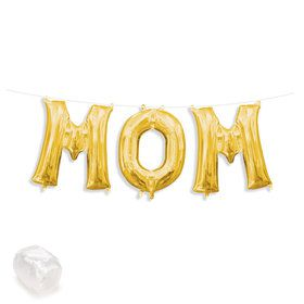 "Air-Fillable 13"" Gold Letter Balloon Kit ""MOM"""