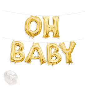 "Air-Fillable 13"" Gold Letter Balloon Kit ""OH BABY"""