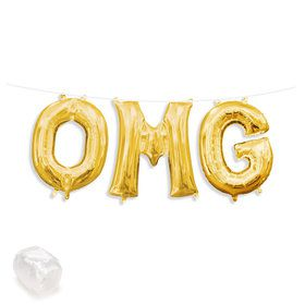 "Air-Fillable 13"" Gold Letter Balloon Kit ""OMG"""