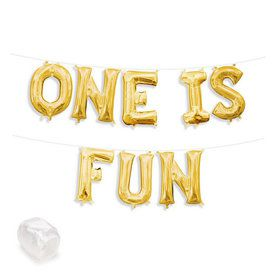 """Air-Fillable 13"""" Gold Letter Balloon Kit """"ONE IS FUN"""""""