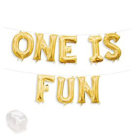 "Air-Fillable 13"" Gold Letter Balloon Kit ""ONE IS FUN"""