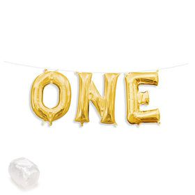 "Air-Fillable 13"" Gold Letter Balloon Kit ""ONE"""