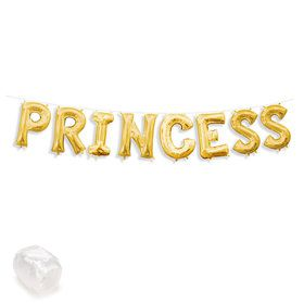 "Air-Fillable 13"" Gold Letter Balloon Kit ""PRINCESS"""