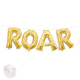 "Air-Fillable 13"" Gold Letter Balloon Kit ""ROAR"""