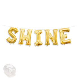 "Air-Fillable 13"" Gold Letter Balloon Kit ""SHINE"""