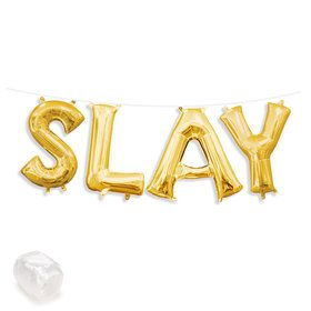 "Air-Fillable 13"" Gold Letter Balloon Kit ""SLAY"""