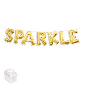 "Air-Fillable 13"" Gold Letter Balloon Kit ""SPARKLE"""