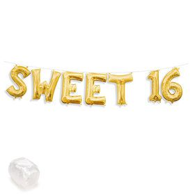 "Air-Fillable 13"" Gold Letter Balloon Kit ""SWEET 16"""