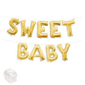 "Air-Fillable 13"" Gold Letter Balloon Kit ""SWEET BABY"""