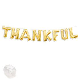 "Air-Fillable 13"" Gold Letter Balloon Kit ""THANKFUL"""