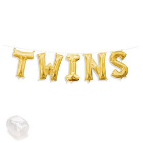 "Air-Fillable 13"" Gold Letter Balloon Kit ""TWINS"""