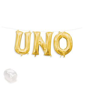 "Air-Fillable 13"" Gold Letter Balloon Kit ""UNO"""