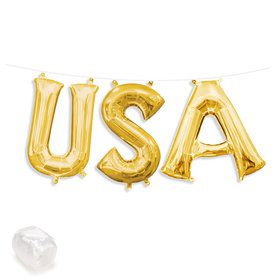 "Air-Fillable 13"" Gold Letter Balloon Kit ""USA"""